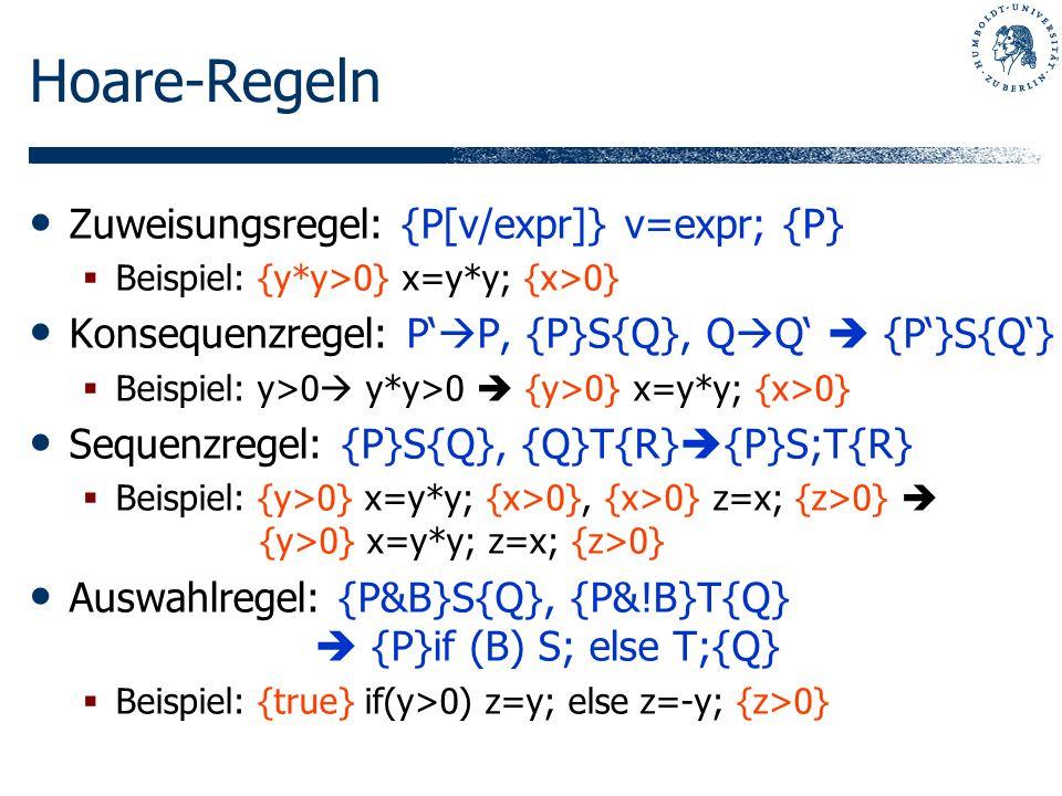 Hoare-Regeln Zuweisungsregel: {P[v/expr]} v=expr; {P}
